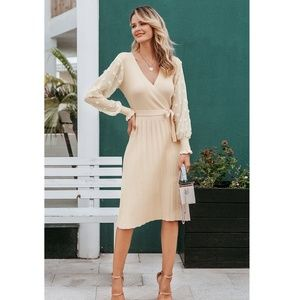 Chiffon Sleeve Belted V-Neck Beige Knit Dress